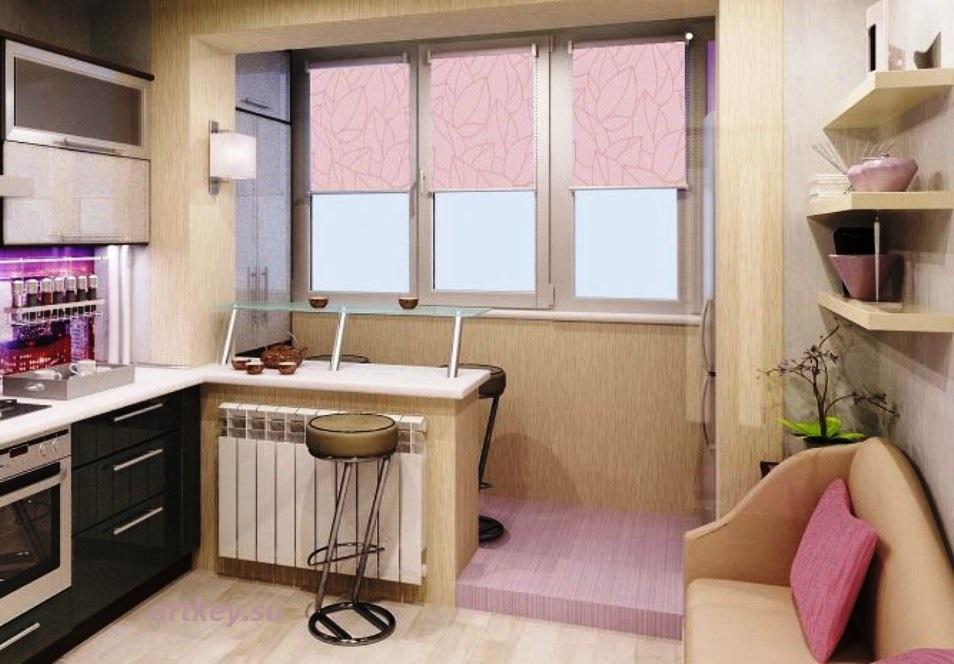 Удобство совмещения кухни с лоджией или балконом