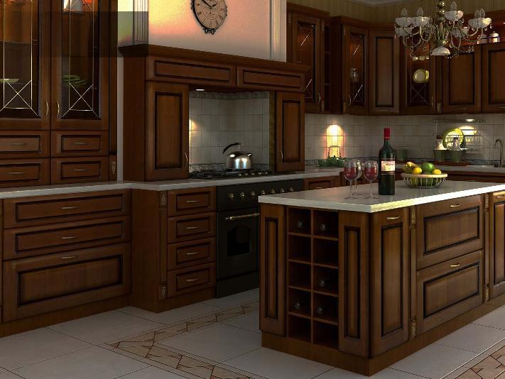 """Изготовление кухонной мебели в стиле классика. Что есть кухня в восприятии любого жителя Санкт-Петербурга?  Нет, не кухня, как гастрономическое проявление нашей жизни, а кухня, как часть жизненного пространства, кухонная мебель, ну или, просто - часть нашей квартиры или дома. Так вот... Кухня в квартире - это столп мироздания, место, где решаются все наиболее жизненно-важные вопросы семьи. Кухня, - это место, где начинается новый день, и, в общем, то там же он и заканчивается. Кухонное помещение, эта та комната, куда неимением столовой в большинстве типовых маленьких квартир всегда хочется поставить большой круглый обеденный стол и собирать за ним всю семью, хотя бы в выходные дни. Кухня, - это место, где мы обычно встречаемся со своими гостями.  Кроме обеденного стола, нам также хочется наполнить кухонное помещение массой, милых сердцу и таких уютных, вещиц, как – домашние цветы в нарядных горшках, часы с кукушкой, картинки или блюда с натюрмортами. Многие вешают модные в наши дни магниты с прикольными надписями, типа - """"После шести часов есть нельзя, а после одиннадцати можно!!!"""" Кто-то вешает лук в косичках, перец в связках, фарфоровые баночки с приправами, ну и всё в таком духе или стиле IKEA, так как подобного добра там продается в огромных количествах! Но, наверное, самое главное, что необходимо сделать в пустой, еще необжитой после покупки, обмена или ремонта квартире - это выбор нормальной, удобной и качественной мебели для кухни! Ведь именно от выбора реальной кухонной мебели будет зависеть весь дальнейший процесс созидания уюта и наведения комфорта и удобства в таком поистине важном помещении нашего дома как кухня. В наши задачи не входит, чтобы посетитель нашего сайта обязательно заказал кухонную мебель именно в нашей мебельной компании. Выбор кухонной мебели и производителей кухни, в любом случае остается за Вами.  Мы просто хотим Вас ознакомить с лучшими представителями российских производителей фурнитуры и аксессуаров кухонной мебели. Ну и, возможно, е"""